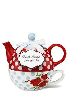 Polka dot + floral // teapot + tea cup set