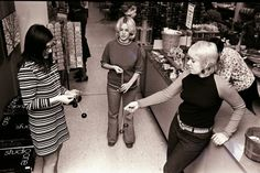 """photo by Tom Heide EDISON — From left, Jo Ann Michalsky, Mary Ann Anacker and Donna Healy play with """"Clackers"""" at the Menlo Park mall in Edison on Feb. 17, 1971. According to Melody Lee, writing for ehow.com, the toy..."""