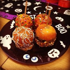 Candy apples and Glow in the Dark Duck Tape plate