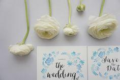 Blue Watercolour Floral Invitation