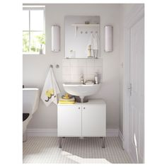 FULLEN Sink base cabinet with 2 doors - IKEA - Solution for pedestal sink storage Cheap Wall Mirrors, White Wall Mirrors, Rustic Wall Mirrors, Wall Mirrors Entryway, Living Room Mirrors, Mirror Bedroom, Bathroom Cabinets Ikea, Bathroom Storage, Unit Bathroom