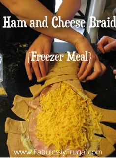 Ham and cheese braid. Can be done with white or wheat bread. Easy to freeze and make for a make ahead meal.