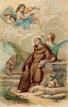 angels above you. Catholic Prayers, Catholic Saints, Patron Saints, Roman Catholic, Vintage Holy Cards, Vintage Art, St Francis Assisi, St Francisco, Clare Of Assisi