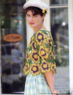 Блуза из цветов - Жакет.Полувер.Свитер
