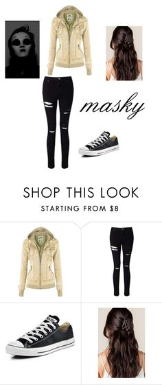 """masky"" by lunawolf-303 on Polyvore featuring Miss Selfridge and Converse"
