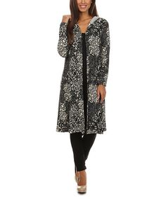 Look what I found on #zulily! Black & Ivory Filigree Split-Hem Hooded Open Duster by Pretty Young Thing #zulilyfinds