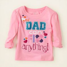 baby girl - graphic tees - dad fixes it graphic tee | Children's Clothing | Kids Clothes | The Children's Place (6m-5T)