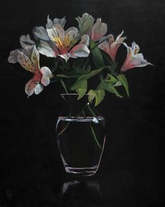 """Daily Paintworks - """"Lilies Bouquet acrylic painting"""" - Original Fine Art for Sale - © Ria Hills"""