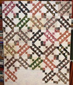 Jacob's Ladder variation, from a Quiltville (Bonnie Hunter) pattern.  Love this!!
