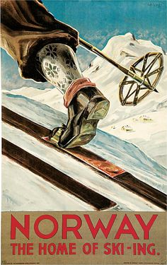 Shop Norway The Home of Skiing Vintage Travel Poster Postcard created by VintageCornerStore. Ski Vintage, Vintage Ski Posters, Retro Poster, Photo Vintage, Poster Poster, Travel Ads, Kunst Poster, Cross Country Skiing, Advertising Poster
