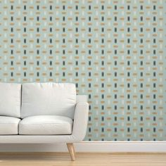 Wallpaper - Mid Century Modern Teal By Chickoteria - Sage Tan Custom Printed Removable Self Adhesive Wallpaper Roll by Spoonflower