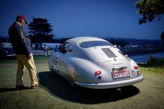 Cameron Healy's 1949 Porsche 356SL  1951 Le Mans 24 hr winner . . . Porsche's First 24 hr win. Restored by Rod Emory and ready to pull out on the green at the 2016 Pebble Beach concours where it finished 2nd. Jeff Zwart photo