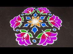 Beautiful Chukki Rangoli With Rose Design 15 8 Interlaced Dots Kolam Youtube Rangoli Designs With Dots Rangoli Designs Rangoli Border Designs