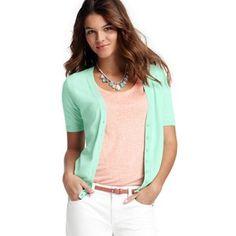 LOFT Petite Pointelle Short Sleeve Cotton Cardigan