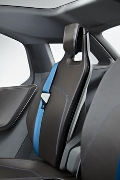 2011 BMW i3 Concept seat blue detail slim thin brown leather stitches line dynamic back rest interior