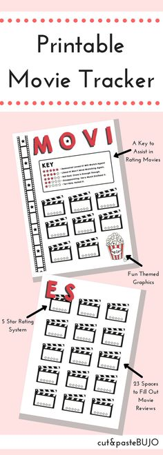 PRINTABLE MOVIE TRACKER Movie Tracker Bullet Journal Printable, 2 Printable Pages | Created by cutandpasteBUJO Includes one PDF with 2 pages of the movie tracker. The movie tracker has 23 spaces to review movies with a 5-star rating section to fill out. You can print this design at any size that suits your bullet journal. A5 or A4 size is recommended.