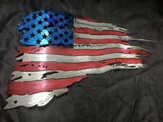 U.S. American Flag metal wall art tattered flag metal wall sculpture airbrushed wall art