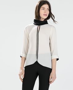 BLOUSE WITH HIGH COLLAR-Tops-WOMAN | ZARA United States
