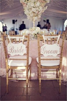 bride and groom signs wedding chair decor