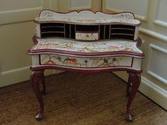 SALE : Artisan Rosemarie Torre Hand-Painted Oriental Theme Desk -OOAK Miniature