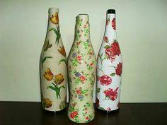 Botellas hechas con piola y cáscara de huevo