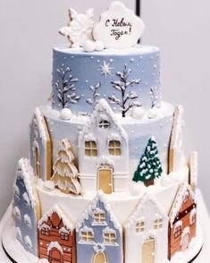 No photo description available. Christmas Cake Designs, Christmas Cake Decorations, Holiday Cakes, Christmas Desserts, Christmas Cookies, Christmas Gingerbread House, Christmas Tea, Christmas Baking, Gingerbread Village