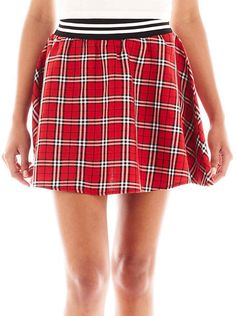 $36, Red Plaid Skater Skirt: jcpenney Almost Famous Plaid Skater Skirt. Sold by jcpenney. Click for more info: https://lookastic.com/women/shop_items/116761/redirect