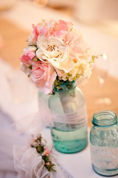 LOVE mason jars!! Photo by Jeannine. #WeddingPhotographerMinnesota #masonjars #DIY