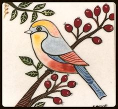110 - 10 x 10 cm - Tiles - Treasury of Sonat's - Painting For Kids, Art For Kids, Small Canvas Paintings, Pottery Painting Designs, Bird Drawings, Small Birds, Tile Patterns, Quilting Designs, Watercolor Art