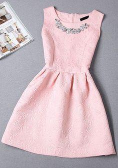 Vestido con collar rosa bebé     hermosoo