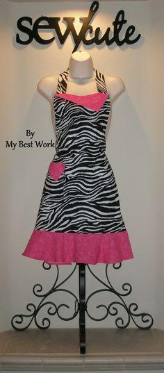 Zebra and Pink Apron