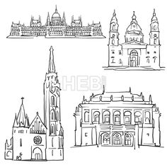 Budapest Hungary Famous Buildings by Hebstreit #architecture #historic #buildings #sketch #art #digital #vector #art #stockimage #hebstreit