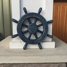 Rustic Dark Blue Nautical Ship Wheel Decorative ship's