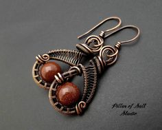 Wire wrapped earrings / brown goldstone / wire wrapped jewelry handmade / woven wire jewelry / earthy antiqued copper jewelry by PillarOfSaltStudio on Etsy https://www.etsy.com/listing/253619639/wire-wrapped-earrings-brown-goldstone