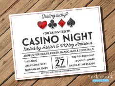 Casino Night Invitation, Poker Run Invitation, Gambling Invitation, Las Vegas Party, Casino Party, Printable Invitation for Party by RockCreekPaperCo on Etsy