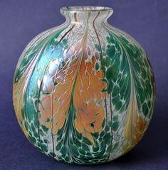 Richard Golding Station Glass Green and Gold Flattened Vase  http://www.bwthornton.co.uk/isle-of-wight-richard-golding-bath-aqua-glass.php