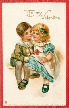 Vintage postcards for Valentine's Day Valentine Images, Vintage Valentine Cards, Vintage Greeting Cards, Vintage Postcards, Vintage Images, Girls Cuddling, Decoupage, Postcard Book, Victorian Valentines