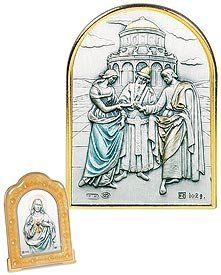 """Bible Story, Wedding At Cana Keepsake Gold Crystal Framed Artwork. Italy's Genuine Sterling Silver Images Are Cast in a Beautiful Setting of Swarovski® Crystals, Mother of Pearl, or Enamel Tabletop Frames. Sterling/enamel/crystals -- 2.25"""" W X 3.25"""" H -- Series 3f Gold Enamel Value Line http://www.amazon.com/dp/B00D62HGBU/ref=cm_sw_r_pi_dp_5dJsvb0B5ZFG2"""