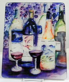 Wine Bottles 1 Tempered Glass Cutting Board by NorthernReExposure Watercolor by Mara