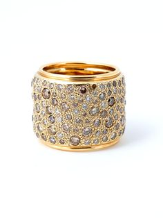 Pomellato 18k Yellow Gold Sabbia Diamond Ring. 18k Yellow Gold Wide Band with Brown Diamonds. Available at London Jewelers!
