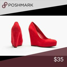 Red Microsuede wedge pump With their faux-microsuede uppers and trendy wedge heels, these pumps are easy to pair with everything from tailored suits to A-line skirts Sociology Shoes Wedges