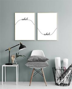 Inhale Exhale Print Yoga Wall Decor Calligraphy Wall Art Set Of Two Prints Bedroom Decor Wave Print Printable Wall Art Inhale Exhale Print Yoga Wall Decor Calligraphy Wall Art