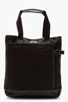 Y-3 Ink black Canvas SHOPPER TOTE bag