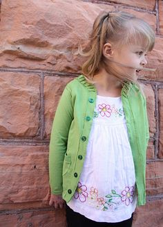 Turn a longsleeved tee you never wear into a cute little girl's cardi.