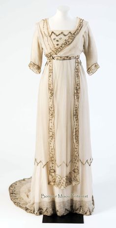 Wedding dress, Lucile, 1908. White silk embroidered with bugle beads. Fashion Museum, Bath, Twitter