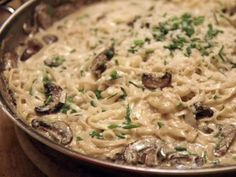 Get Fettuccine with White Truffle Butter and Mushrooms Recipe from Food Network