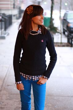A gingham button down under a coordinating cable-knit crewneck will always be chic!