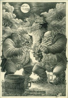 Bilbo and the Trolls Jrr Tolkien, Tolkien Books, Dark Fantasy, Fantasy Art, Wizard Tattoo, East Of The Sun, Fanart, Inspirational Artwork, The Hobbit