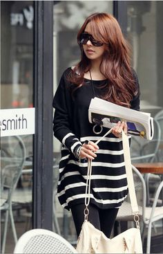 Fashion Round Collar Women Long Sleeve Striped Sweater - BuyTrends.com