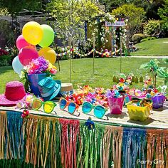 Outside Hawaiian party